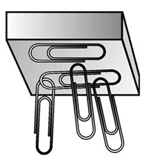 Metal bar picking up paper clips